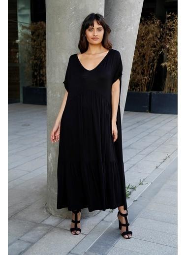 Matmazel V Yakalı Kısa Kollu Uzun Elbise Siyah